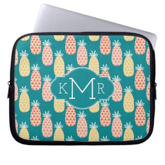 Monogramme du motif | de griffonnage d'ananas trousses pour ordinateur portable