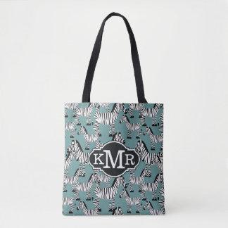 Monogramme du motif | de zèbre tote bag