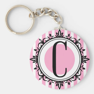 """Monogramme du rose """"C"""" Porte-clés"""