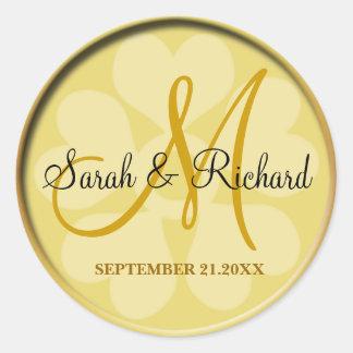 Monogramme élégant de mariage d'or sticker rond