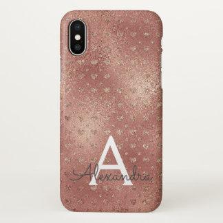 Monogramme élégant de motif de coeur d'or de rose coque iPhone x