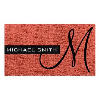 Monogramme élégant de toile de rouge de brique carte de visite standard