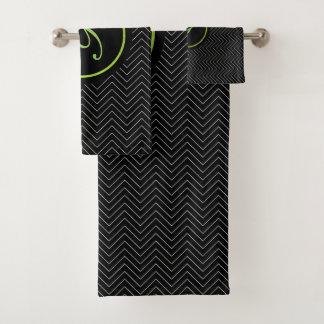 Monogramme élégant noir de motif de Chevron