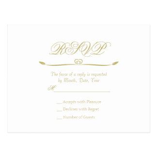 Monogramme élégant RSVP de blanc et d'or Carte Postale