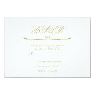 Monogramme élégant RSVP de blanc et d'or Carton D'invitation 8,89 Cm X 12,70 Cm