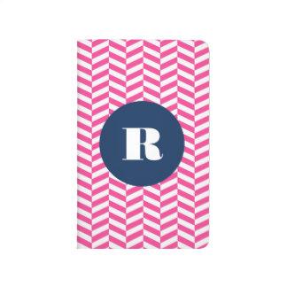 Monogramme en arête de poisson de motif de roses carnet de poche