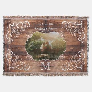 Monogramme en bois de panneau de région boisée de couvre pied de lit