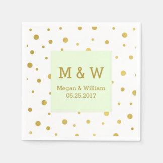 Monogramme en bon état de mariage de confettis serviette jetable