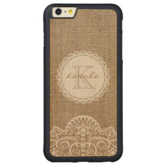 Monogramme en ivoire de motif de dentelle de toile coque carved® pare-chocs en érable pour iPhone 6 p