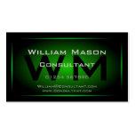 Monogramme encadré noir et vert - carte de visite