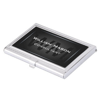 Monogramme encadré par noir - porte-cartes de porte-cartes de visite