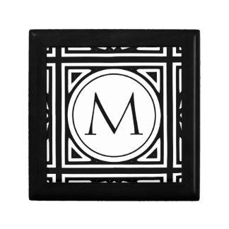 Monogramme encadré petite boîte à bijoux carrée