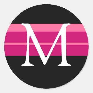 Monogramme épousant l'autocollant blanc noir rose
