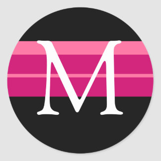 Monogramme épousant l'autocollant blanc noir rose sticker rond