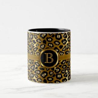 Monogramme exécutif - or et motif noir de léopard tasse 2 couleurs