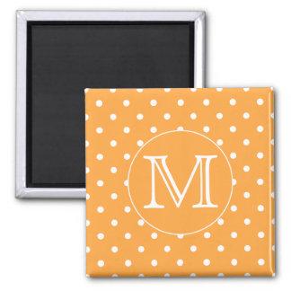 Monogramme fait sur commande Point de polka orang Magnets Pour Réfrigérateur