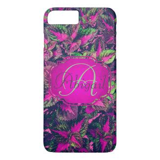 Monogramme - feuille rose personnalisable Camo Coque iPhone 7 Plus