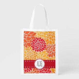 Monogramme - fleurs de dahlia, fleurs - rouge sac réutilisable