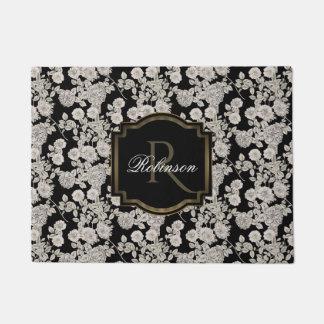 Monogramme floral blanc vintage du noir | paillasson