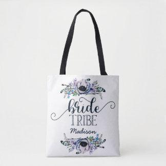 Monogramme floral chic de tribu de jeune mariée de tote bag