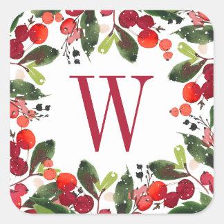 Monogramme floral d'aquarelle de la guirlande   de sticker carré