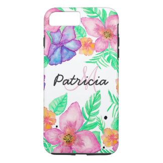 Monogramme floral d'aquarelle rose tropicale de coque iPhone 7 plus