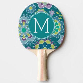 Monogramme floral de coutume de motif de ressort raquette tennis de table