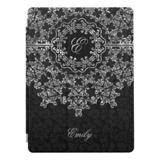 Monogramme floral de damassés de noir de dentelle protection iPad pro