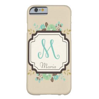 Monogramme floral de fantaisie M et nom fait sur Coque iPhone 6 Barely There