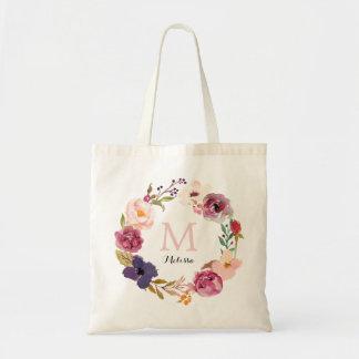 Monogramme floral de guirlande d'aquarelle sac