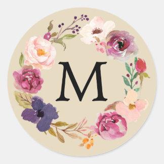 Monogramme floral de guirlande d'aquarelle sticker rond