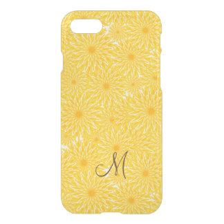 Monogramme floral de motif de fleur jaune de coque iPhone 7