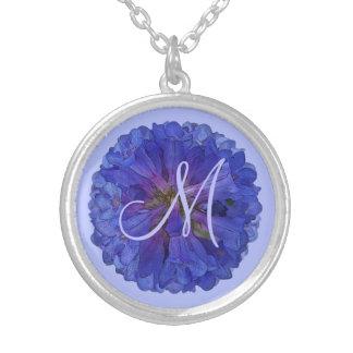 Monogramme floral de Penstemon bleu Pendentif Rond