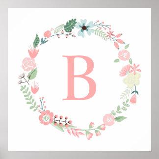 Monogramme floral sensible de guirlande poster