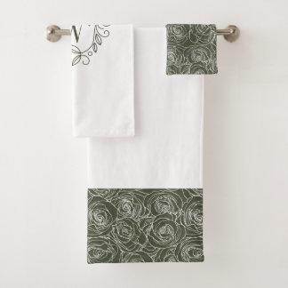 Monogramme floral vert élégant