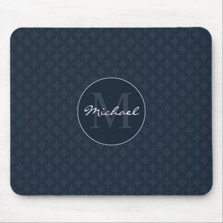 Monogramme foncé chic de coutume de bleu marine tapis de souris