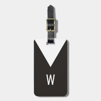 Monogramme géométrique blanc noir frais élégant étiquette à bagage