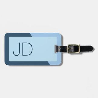 Monogramme géométrique bleu simple frais étiquette à bagage