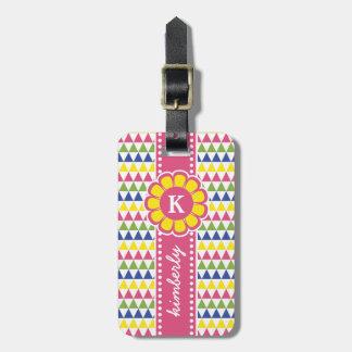 Monogramme géométrique coloré de ruban de fleur de étiquette à bagage
