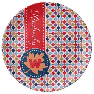 Monogramme géométrique de motif d'automne à la assiette en porcelaine