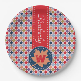 Monogramme géométrique de motif d'automne à la assiettes en papier