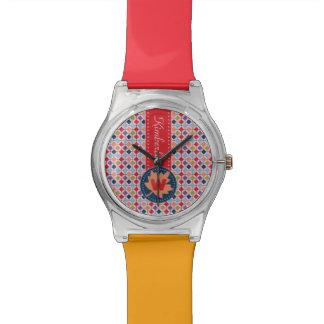 Monogramme géométrique de motif d'automne à la montres bracelet
