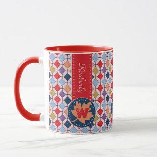 Monogramme géométrique de motif d'automne à la mugs