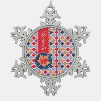 Monogramme géométrique de motif d'automne à la ornement flocon de neige pewter