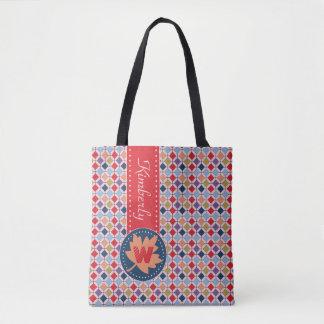 Monogramme géométrique de motif d'automne à la sac