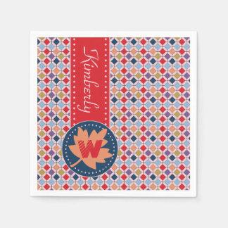 Monogramme géométrique de motif d'automne à la serviettes en papier
