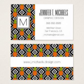 Monogramme géométrique des ananas | cartes de visite
