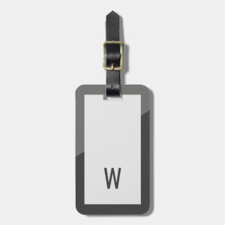 Monogramme géométrique gris frais élégant étiquette à bagage
