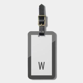 Monogramme géométrique gris frais élégant étiquettes bagages