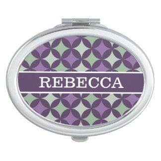 Monogramme géométrique pourpre moderne de motif de miroir de poche